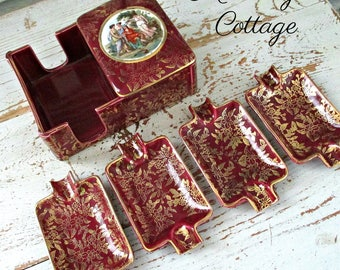 EMPIRE England Ware Burgundy & Gold Cigarette/Match Holder Dish and 4 Ashtrays