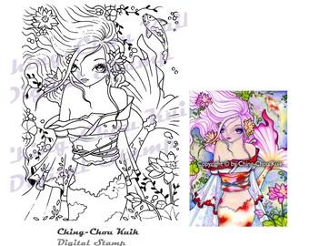 Koi - Digital Stamp Instant Download / Lotus Flower Kimono Oriental Japanese Mermaid Fantasy Fairy Girl by Ching-Chou Kuik