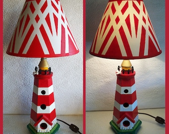 Lighthouse lampshade etsy lighthouse night light lamp with hand painted shade aloadofball Gallery