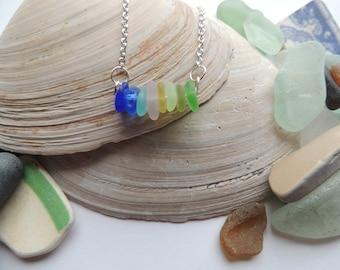 Sea Glass Multi Colored Necklace, Authentic Sea Glass, Blue Sea glass, UV Sea Glass, Lavender Sea Glass, Yellow Sea Glass
