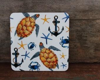 Nautical Coasters Set of 4 - Beach Decor - Home Decor - Turtle - Livingroom - Wedding - Housewarming