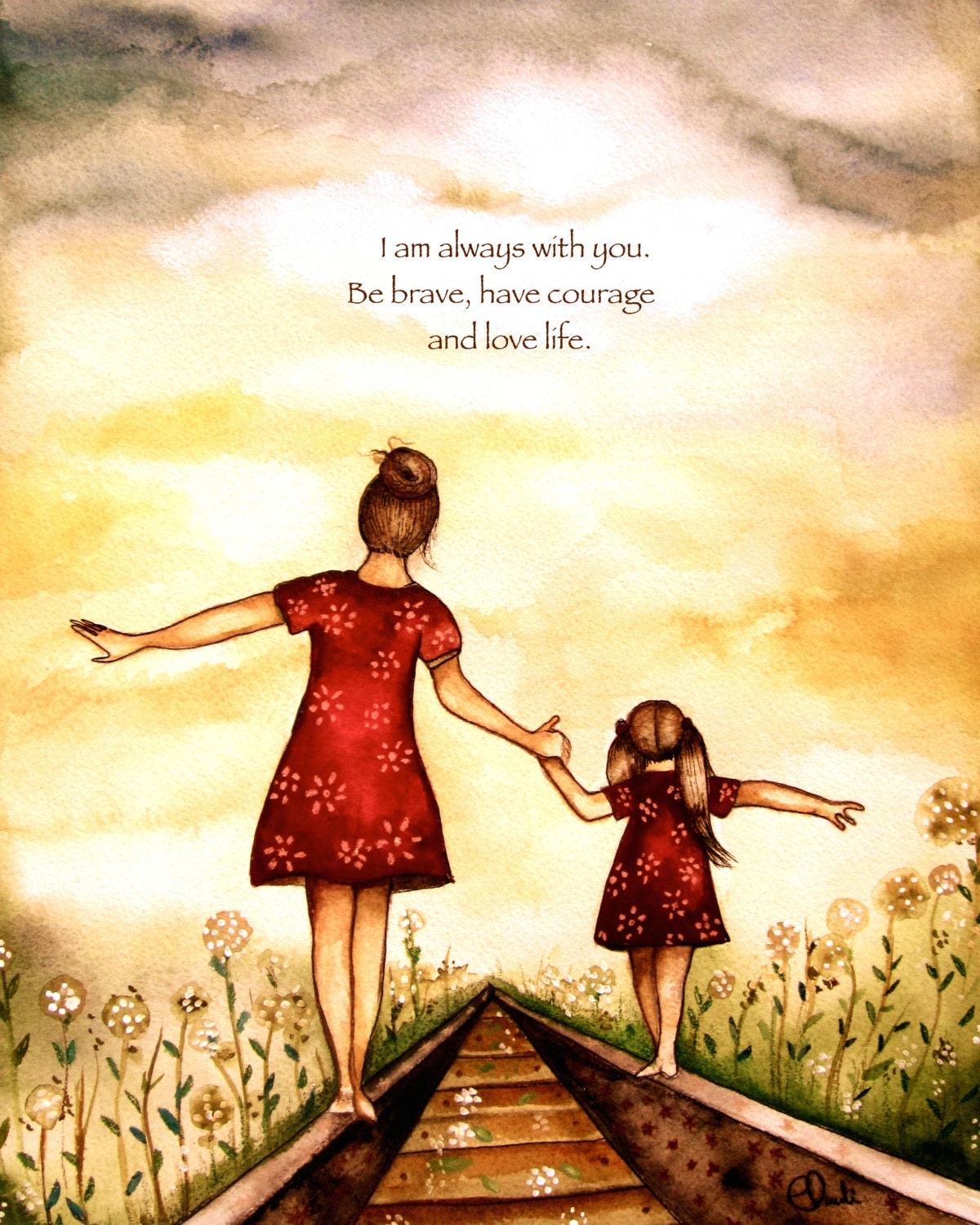 Mother Daughter Love Quotes Mother And Daughter Our Path Art Print Gift Idea