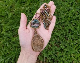 Drusy Quartz + Czech Glass Necklace // drusy quartz necklace // long crystal necklace