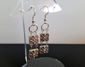 Pink Rhinestone Square Swing Earrings
