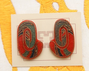 Red Gold Green Abstract Earrings // Large Avant Garde Statement Earrings