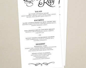 Modern Script Wedding Reception Dinner Menu - Modern Menu Card - Monogram - Personalized Wedding Menu Card - Custom Colors Available