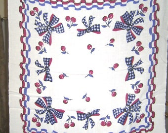 1950s PRINT KITCHEN TABLECLOTH - Bows & Cherries