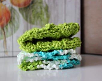 Set of 2 Cotton Dishcloths, cotton dishcloth, dishcloths, knit dishcloths, knitted dishcloth, cotton yarn, knit dishcloth, green dishcloth