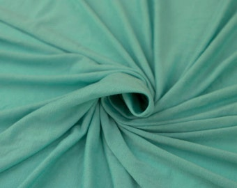 Aqua Medium Weight Rayon Spandex Jersey Knit Fabric by the Yard - 1 Yard Style 409