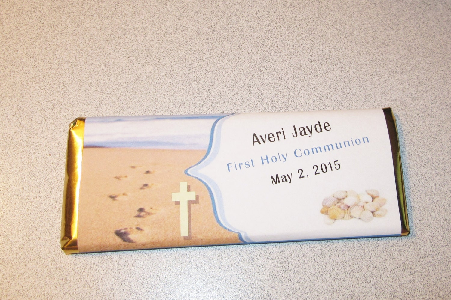 First Holy Communion Beach Themed Favor Wrapped Chocolate