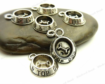 Bulk 30 Dog Bowl Charms (3D) Antique Silver Tone Metal 15x11mm - Very Cute and Detailed - BE34