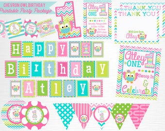Chevron Owl Birthday Party Printable Package YOU Print