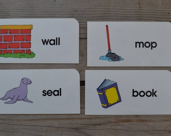 Vintage Educational Ephemera Scrapbooking Picture Print Flash Cards- Lot of 4