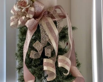Extra large Burlap Top Hat -Christmas Tree Topper Bow -FREE SHIPPING -Shabby Chic Tree Topper Bow -Tree Topper Top Hat -Top Hat Tree Topper