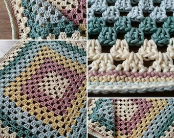 Chunky Cotton Baby Blanket, Granny Square Blanket, Chunky Blanket, Baby blanket, Cot Blanket, Bedding, Baby Bedding, Baby Boy, Baby Girl