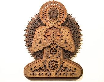 Visionary Meditation Buddha Sacred Geometry Yoga Mandala Divine Being Moon Phases Seed of Life Eyes Buddha Buddhist Laser Cut Wood Art