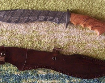 Beautiful custom Handmade Decorative Firestorm pattern Damascus steel hunters Bolo Bowie knife with custom leather sheath