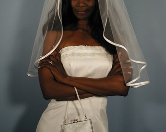 "Wedding veil with Satin ribbon wedding veil. 1/4 Folded ribbon, 30"" Elbow length veil."