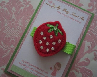 Girl hair clips - girl barrettes - strawberry hair clips - no slip hair clip