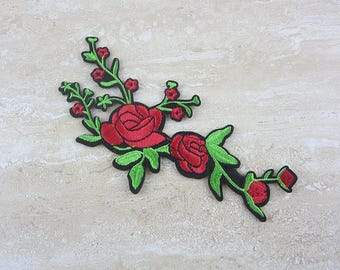 RED FLOWER Patches, Green Plants Appliques