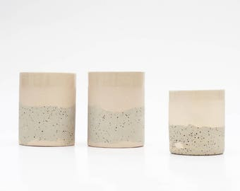 Handmade ceramic beakers in speckled clay, pink and white color. Ceramic cup or glass // beakers. Speckled pottery. Modern cup