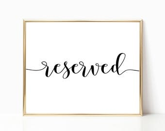 Reserved Sign, Reserved Seat Sign, Reserved Table Sign, Wedding Sign, Reception Sign, Printable Sign, 8x10 Sign - FPS002S