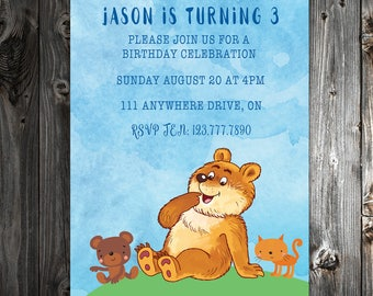 Animal Family 3rd Birthday Invite - Digital Download