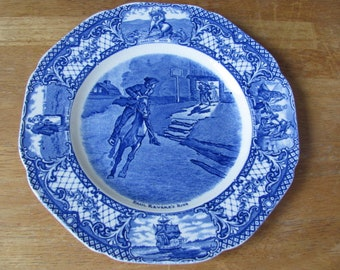 """Paul Revere's Ride 9"""" luncheon plate Colonial Times by Crown Ducal, England, blue transferware, Bicentennial, Historic, Patriotic"""