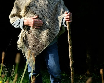 White, cream and brown poncho robustly handwoven in Devon, England, from handspun Jacob's wool