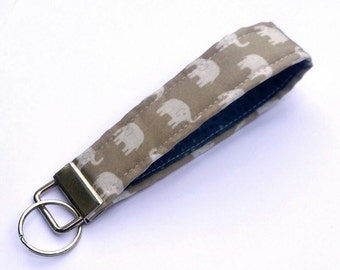 FREE SHIPPING UPGRADE with minimum -  Key Lanyard - Key Fob - Fabric Key Ring -- Elephants on Gray