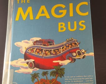 The Magic Bus, book, by Maurice Dolbier, illustrated by Tibor Gergely, Wonder Books, 1948, children's book, gift, shadowbox gift, nursery.
