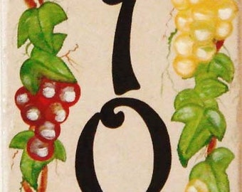Vertical House number plaques, painted Italian house numbers, ceramic house numbers, house numbers, house sign, Italian grapes, outdoor sign