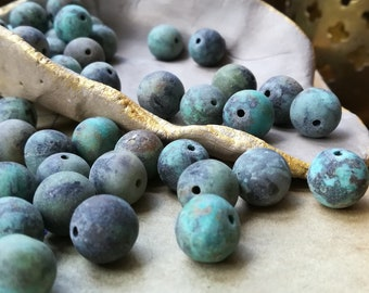Matte African turquoise beads 10mm 15pcs Round turquoise beads