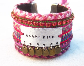 Carpe Diem friendship bracelet cuff, inspirational hand stamped cuff, seize the day, Swarovski cuff, ibiza style tag bracelet, gypsy cuff