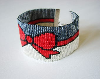 Large red knot Bracelet - Miyuki glass beads
