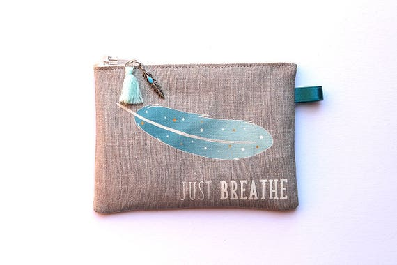 """""""Blue feather"""" illustrated natural linen wallet"""