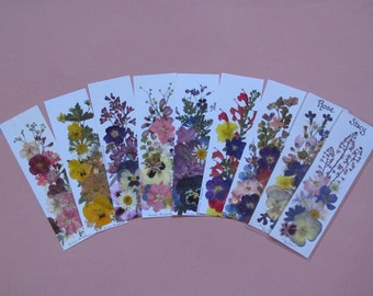 Bookmarks with real flowers, personalization optional