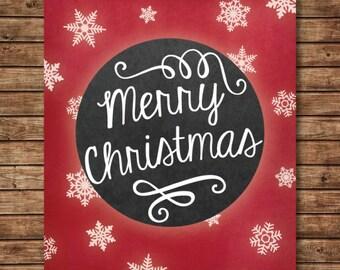 Christmas Printable - Merry Christmas Art - Christmas Art Print - Christmas wall decor - Holiday art - Christmas artwork - Snowflake Art