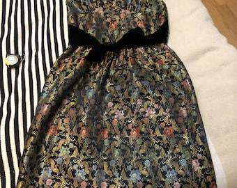 1950s GOLD Oriental Halter Black Velvet Tie Dress
