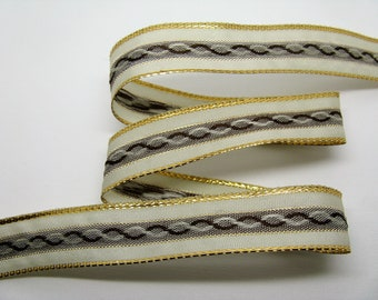 3 meters of brass woven ref 35 ecru, beige and Brown - striped Ribbon