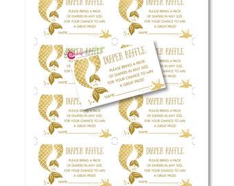 Mermaid Gold Tail Baby Shower Diaper Raffle DIY Printable INSTANT DOWNLOAD (Digital File Jpeg and Pdf)