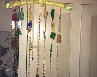 Hand crafted coloured glass,crystal, beads and ribbons mobile