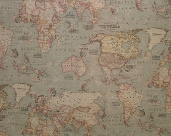 Map fabric etsy grey atlas world globe map cotton linen fabric curtain blinds craft quilting gumiabroncs