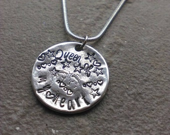 Queen Of My Heart - Hand Stamped Coin Necklace - Sixpence Chain - Mother's Day Gift