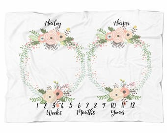 Milestone blanket for twins, Monthly blanket, Personalized Baby Blanket, Baby blanket,  swaddle blanket, Custom Blanket, Watch me grow