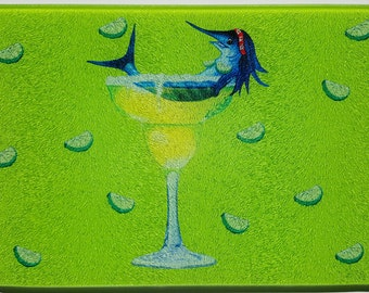 Margarita Trixie Glass Cutting Board limes bar party humorous fishing gift Lime Green