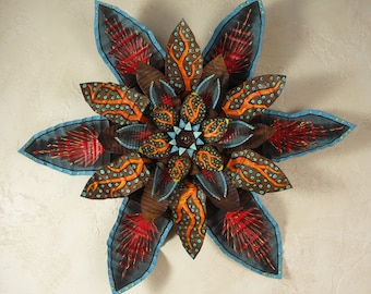 Bohemian Wall Flower, Rustic Wall Decor, Metal Wall Art, Meditation Room Decor, Arizona Festive Hand Painted, Red Orange Turquoise Recycled