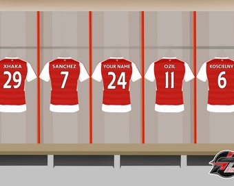 PERSONALISED Football Team Shirts Artwork Print