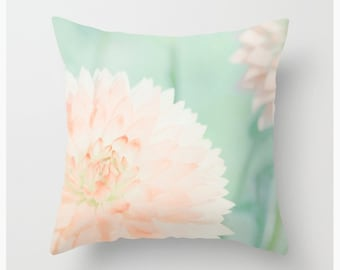 THROW PILLOW Peach Dahlias, mint and peach, home decor, homestyling,dorm decor, home accessories, cushion cover, bedding, indoor outdoor