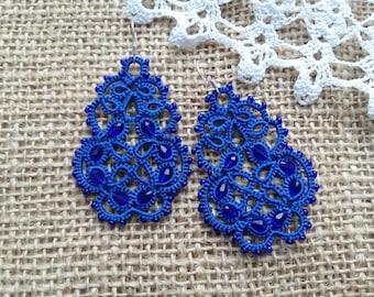 """tatting jewelry Jewellery Earrings """" Infinity"""" Chandelier Earrings Jewellery Earrings Tatting Lace Weddings tatted jewelry"""